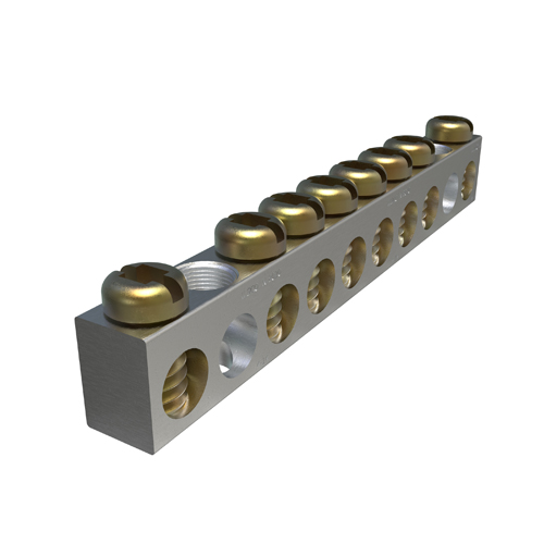 Ilsco NBAS-008-2-A Aluminum Neutral Bar, Dual-Rated, 8-Circuit, Headed Slot Drive / Square Drive Screw. Conductor Range: #4-#14